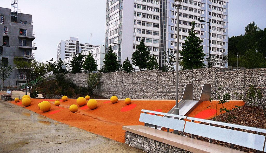 Aménagement urbain à Bagneux (92) - mur gabion aménagement centre ville bagneux