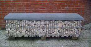 Gabion banc avec couvertine pierre